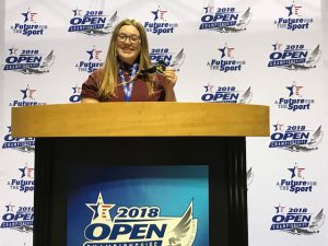 Carolyne Shultes poses at the state championships