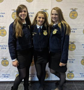Meghan McCarron, Vivian Hanley, and Kelsey Campbell attend the NY state FFA convention in Rochester, NY