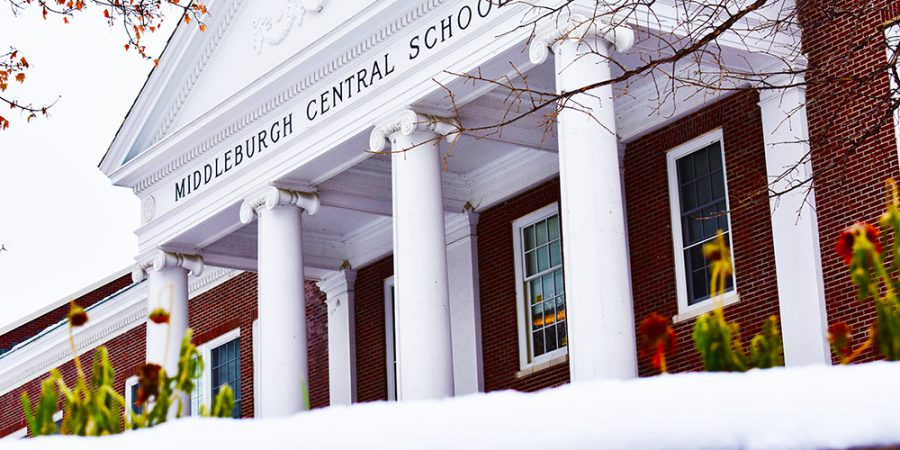 a picture of the jr./sr. high school outside in winter