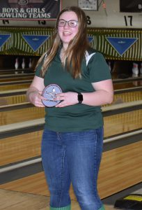 carolyne shultes poses for a picture after being named to the Section II Girls Bowling team