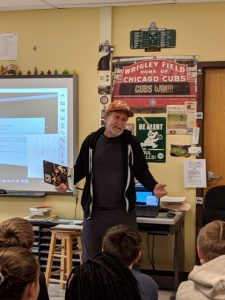 Jeff Tufano speaks to mes 6th graders