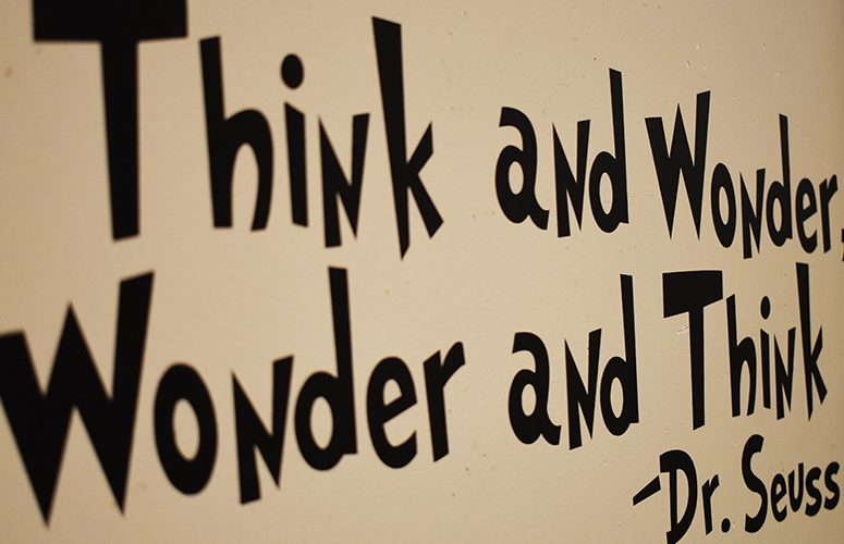 picture with text saying think and wonder, wonder and think - dr. seuss