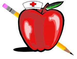 school nurse artwork with an apple
