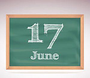 Chalkboard with June 17 written on it