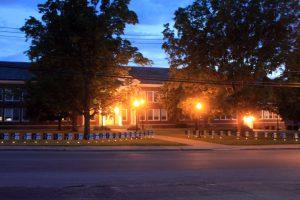 school lit up at night