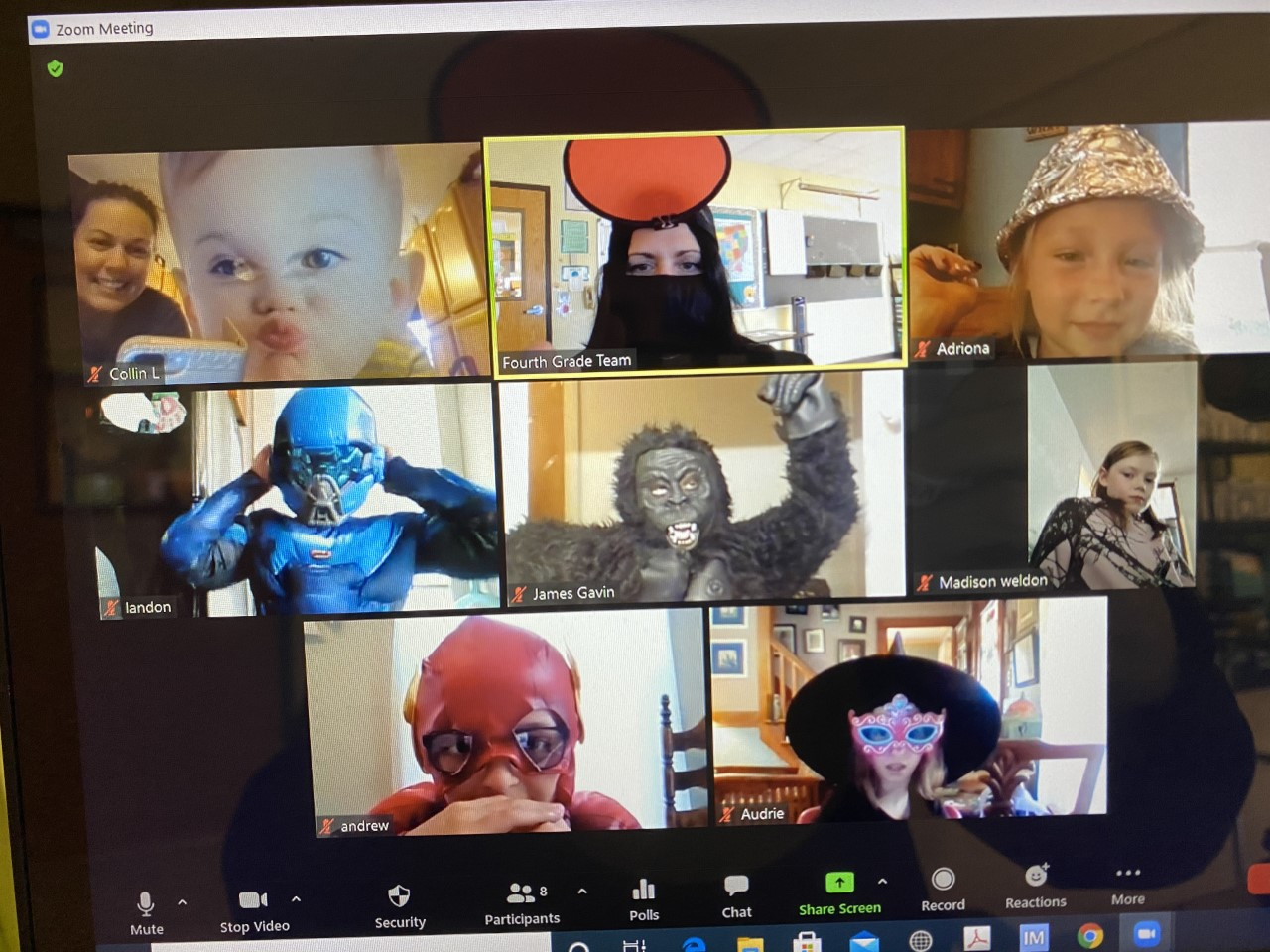 Virtual Halloween Party of 4th graders with costumes