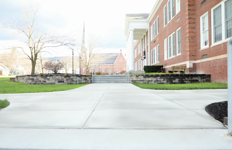 smooth, newly paved sidewalks leading to high school