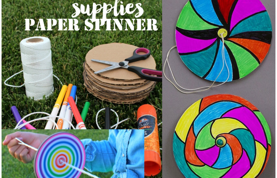 supplies like rope, scissors, markers and colorful paper spinners