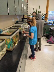 two students test water with their teacher watching