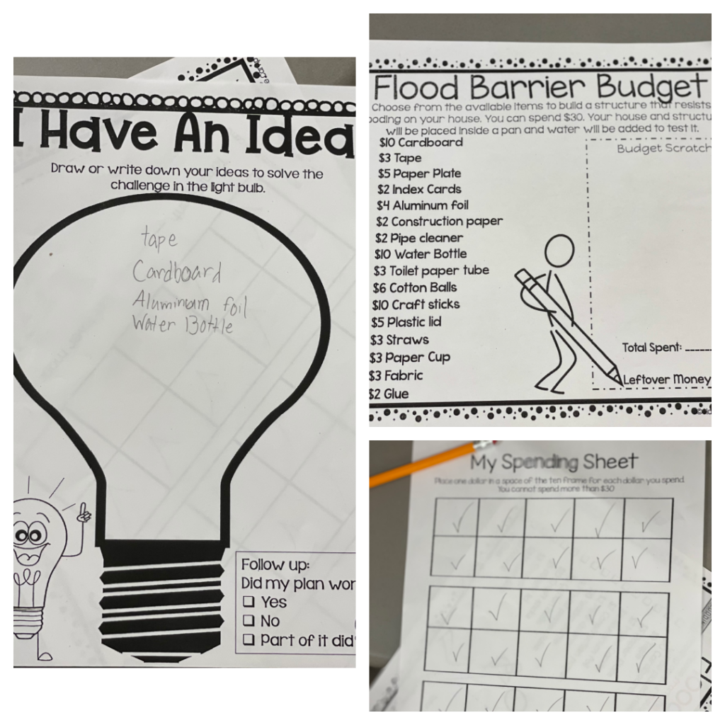 three worksheets - one has a lightbulb to write ideas into, another sheet is a check list of supplies, and the other sheet is made of boxes to check off how much money was spent