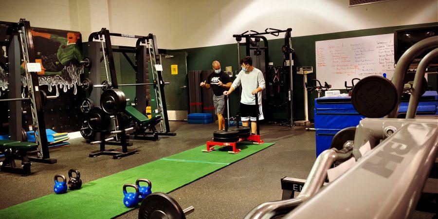 coach showing athlete workout technique